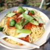 【キャンプ飯】地場の芽キャベツと長ネギのミートソーススパゲティ