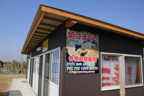 受付兼売店では、海の幸を食べることも出来ます。