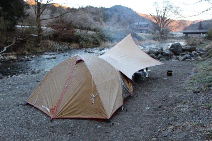 埼玉県のcazuでのテントも凍る冬キャンプ