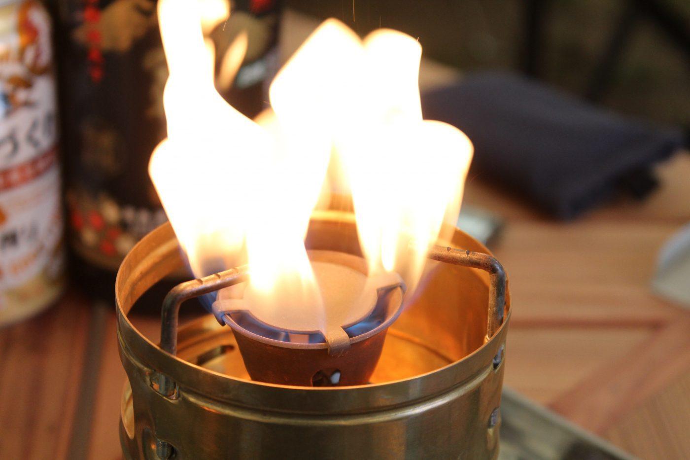 スベアのプレヒートが足りない時は赤い火が上がる