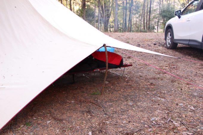 タープの後方のポールの代わりに木の枝を使う