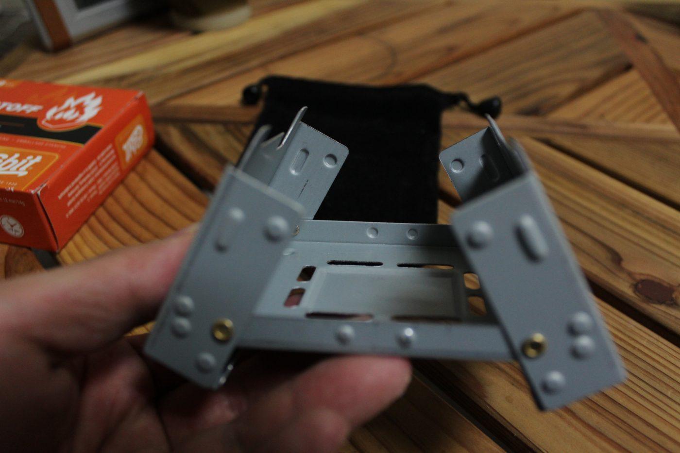 エスビットポケットストーブを展開した写真1