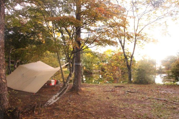 雨の日のソロキャンプはハンモック泊に大型タープ