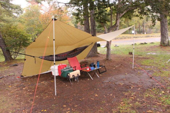 雨の日のキャンプはハンモック泊に大型タープがいいんじゃないか