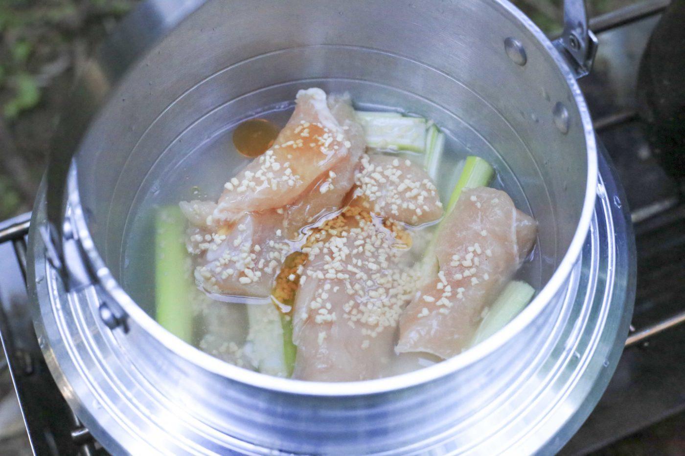 ユニフレームキャンプ羽釜を使ったキャンプ飯レシピ【鶏飯】