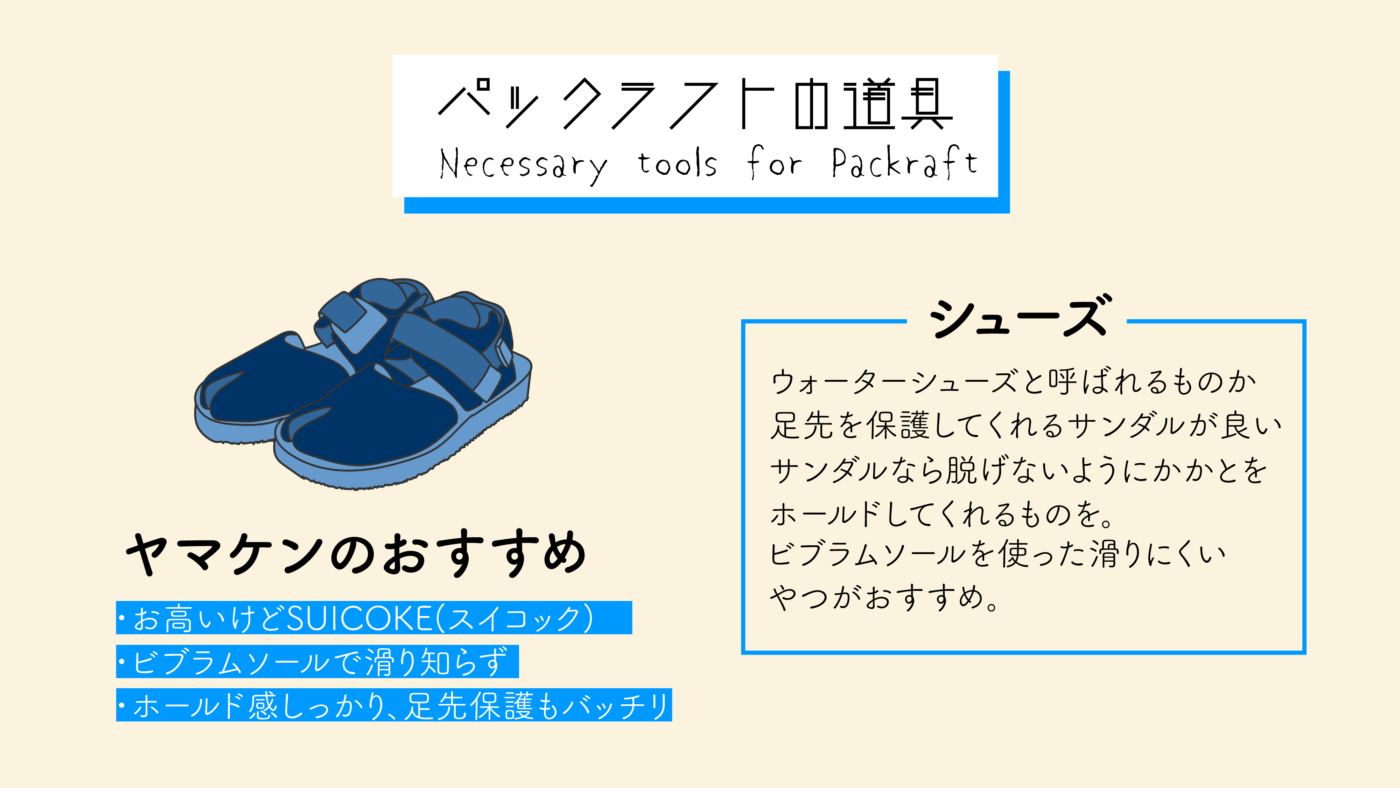 パックラフト履くシューズは必ず指先とかかとが保護されているもの、滑りにくいもの、脱げにくいものを準備しよう!